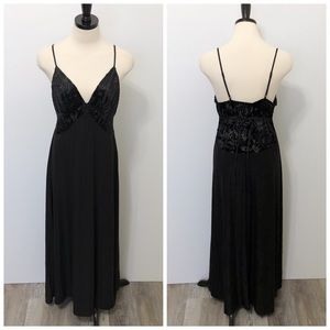 Soma Black Velvet Stretch Long Slip Nightgown